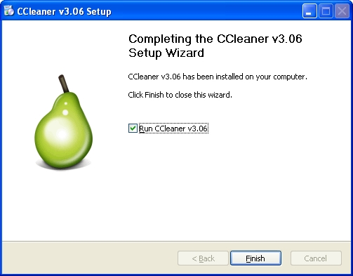 Setup Finish Ccleaner
