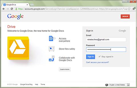 แบบฟอร์มสำหรับเข้าสู่ระบบ google chrome