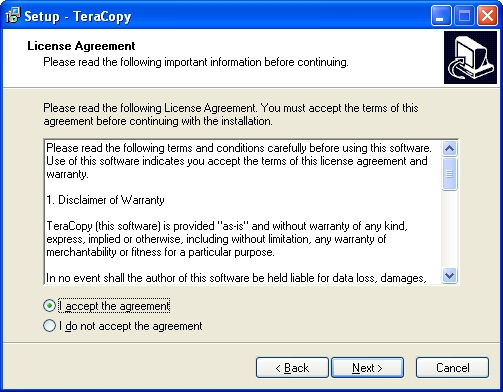 teracopy license agreement screen